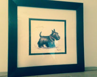 Scotty Is A Signed Print by Lyndi Lende, Limited Edition, Custom Framed, Your Best Friend, Scottie Collectible, Scottie Accessory
