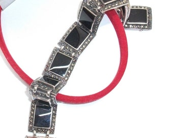 Antique, old real silver bracelet with Onyx SA180