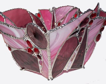 Stained glass bowl centerpiece cranberry and pink