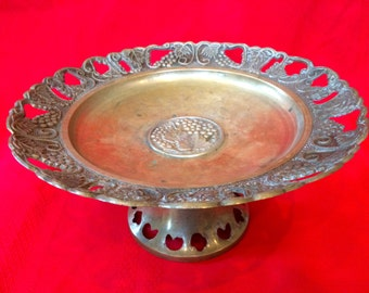 Vintage Solid Brass Compote with Grape Design