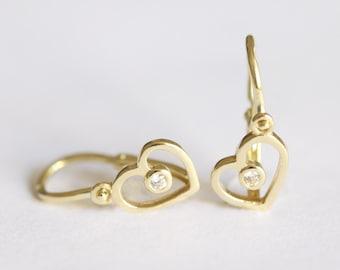 Diamond Heart Earrings, Children Earrings, 14k Solid Gold Dangle Earrings
