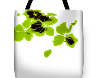Chartreuse Floral bag, Green Black and White  floral purse,beach bag,Shoulder bag,13x13 16x16 18x18 fresh fun fashion totebag