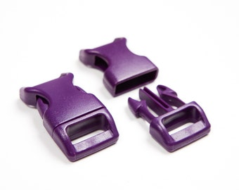 "10 x Purple paracord buckles 5/8"" coloured side release large webbing"