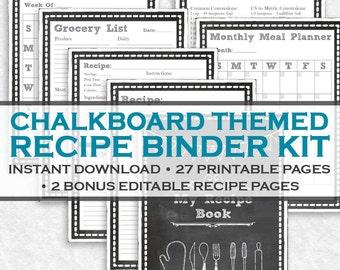 Chalkboard Printable Recipe Binder Kit - 29 Printable Pages! Instant Downloadable Letter Size PDF