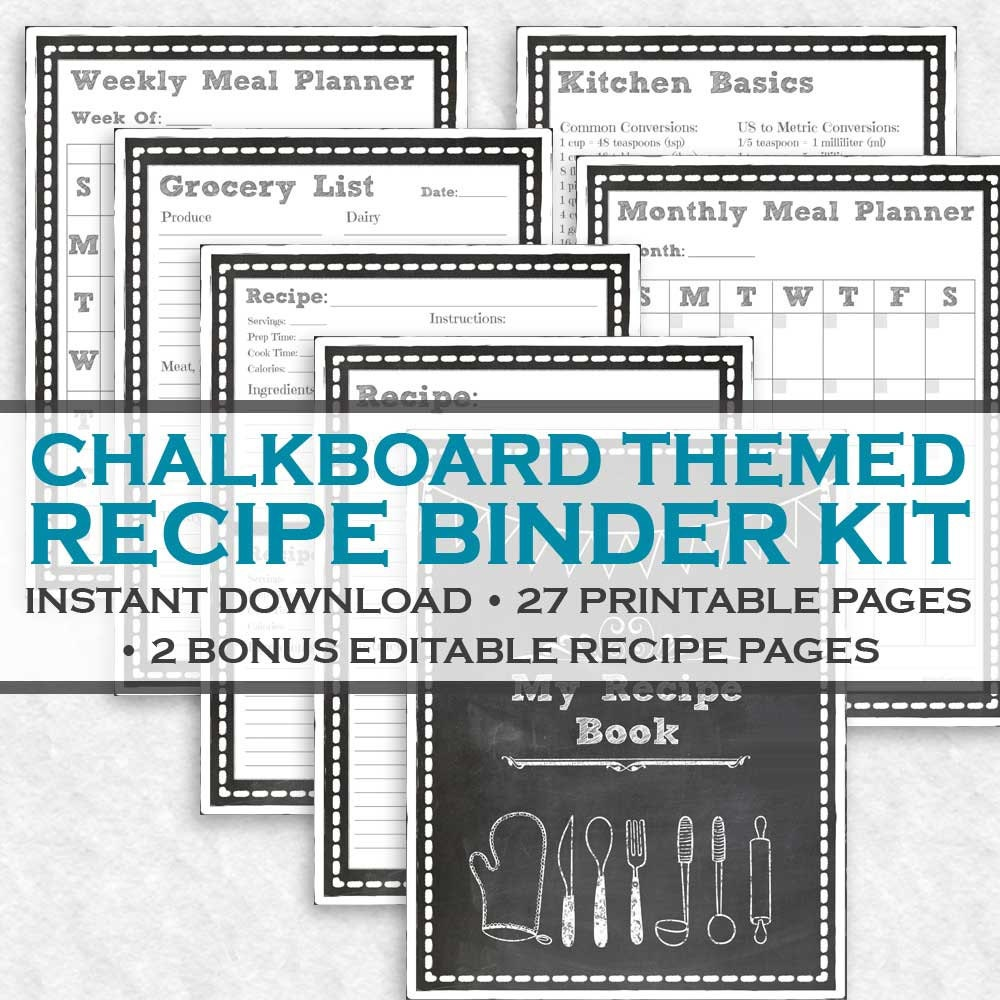 chalkboard printable recipe binder kit 29 printable pages