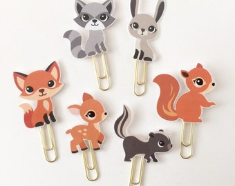 Woodland Animal Fox Squirrel Raccoon Skunk Deer Bunny Double Sided Planner Clip - Made to Order