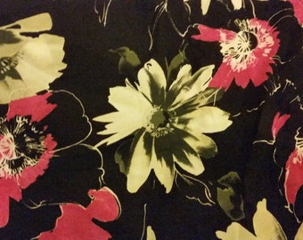 Flower prints in the black background fabric