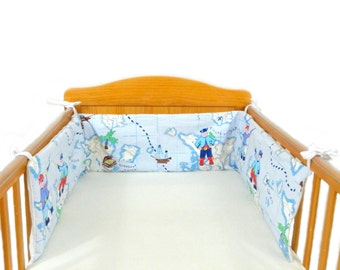 SALE Pirate themed cot crib bumper and cushion