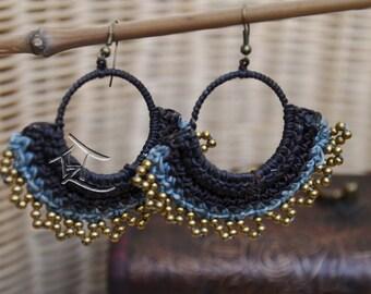 Macrame hoop earrings- hand made, bohemian BLUE
