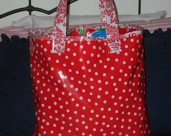 Red w/White Polka Dots Oil Cloth Tote