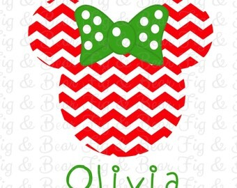 Disney Christmas Iron On Transfer Personalized Mickey Mouse or Minnie Mouse Red Chevron