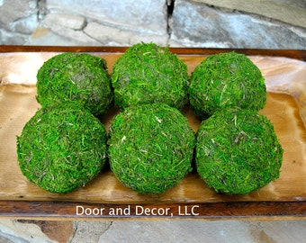 Moss Balls~Set of 6~Rustic Decor~Moss Covered Balls~Natural~Farmhouse Decor~Moss decor~rustic moss balls