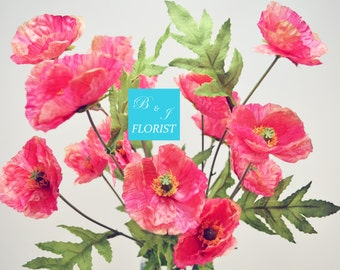 Artificial Poppy Fall Bush - Fake Silk Flowers Stems - Pink