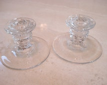 "Fostoria American Candlestick Pair 3"" Round Footed"