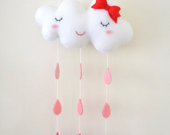 Pink cloud with bow nursery decor/mobile