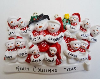 Personalized Family of 13 Christmas Ornament - Personalized Free - Grandparents with 11 Grandchildren Christmas Ornament