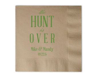 The Hunt Is Over Personalized Wedding Napkins