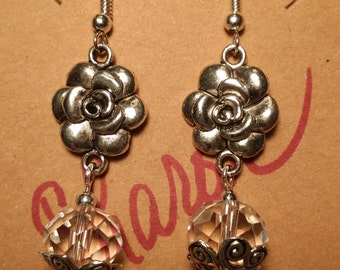 Flowers and Crystals Dangle Earrings