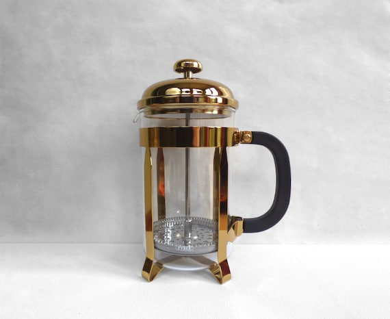 Boxed Pyrex Vintage French Press Gold Coloured Cafetiere