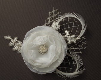 Bridal Flower Feather Clip Wedding Hair Flower Clip Wedding Accessory Feathers Pearls  Wedding Hair Accessory