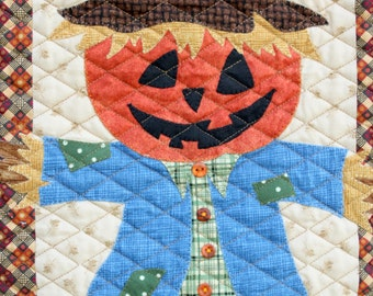 Scarecrow Wall Hanging  Halloween Wall Hanging  Fall Decor  Quilted Wall Hanging  Autumn