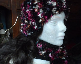 Purple, Black, Bronze, and White Fuzzy Winter Crochet Beanie Hat and Scarf Set
