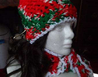 Christmas Red, White, and Green Crochet Beanie Hat and Scarf Set