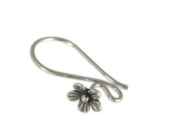 Handmade Oxidized 925 Sterling Silver Flower Ear Wire - 1 pair