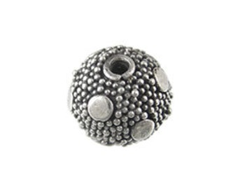 Handmade Oxidized 925 Sterling Silver Bali  Detail Tiny Dots Round Beads - 2 pcs.