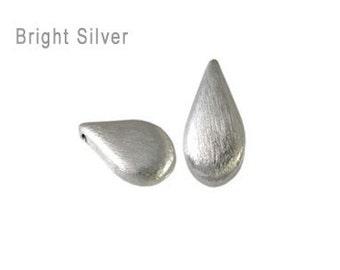 Handmade 925 Sterling Silver Bali Brushed Teardrop Bead - 2 pcs.