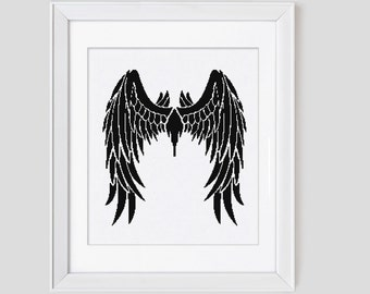 Angel wing cross stitch pattern, angel counted cross stitch, angel blackwork cross stitch pattern, modern cross stitch pattern