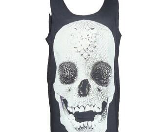 Diamond skull tank top **tank tops **sleeveless tank **woman tee shirt **Skulls clothes size M medium