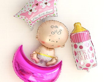 Huge Combo Baby shower Aluminum foil balloons set baby shower Baby Shower Birthday Party Decorations crown baby milk bottle