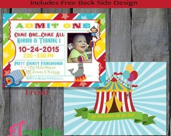 Personalized PRINTABLE Carnival Themed Birthday Invitation - Circus Party Invitation (B116)