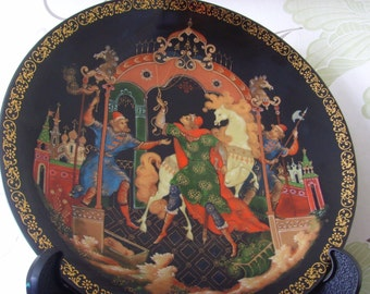 "Vintage Russian Art Plate ""The Golden Bridle"""