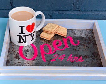 Upcycled drinks tray- the OPEN 24hrs serving tray (neon pink) Made from an upcycled baking tray
