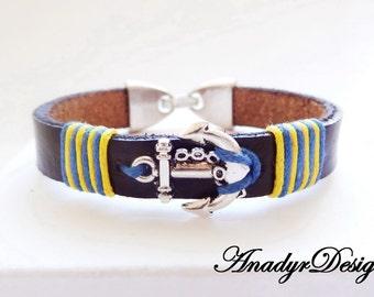 FREE SHIPPING, Bracelet for kids,Anchor bracelet,Leather bracelet, Kids leather bracelet,kids jewelry,Gift for kids, bracelet for children