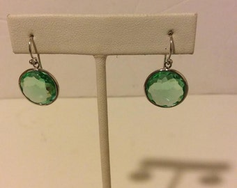 Sterling silver lime green faceted stone drop earrings