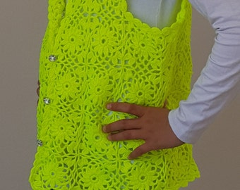 Lace Button Down Vest for Girls/Women Pick your color Summer, Winter Sleeveless Swearter