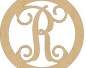 Unfinished Wooden Monogram, Single Letter Initial, Circle Design Vine Wood Monogram All Sizes 06.8