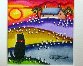 Cat Art,Cat Folk Art,Cat Decor,Nursery Art,Original Painting,Catlover gift,Cat gift for her,Christmas gift,teen girl gift, gift for her