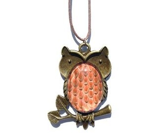 Owl Necklace with Real Snakeskin- Orange