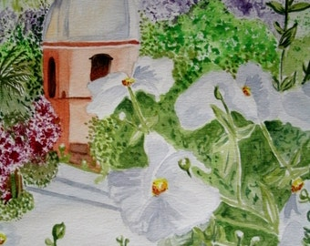 Spanish Mission Watercolor Painting, original fine art realism home decor nature garden botanical floral historical flowers landscape