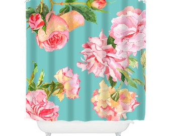 shabby chic shower curtain, rose shower curtain, floral shower curtain, shabby chic bathroom decor, rose decor, aqua and pink shower curtain