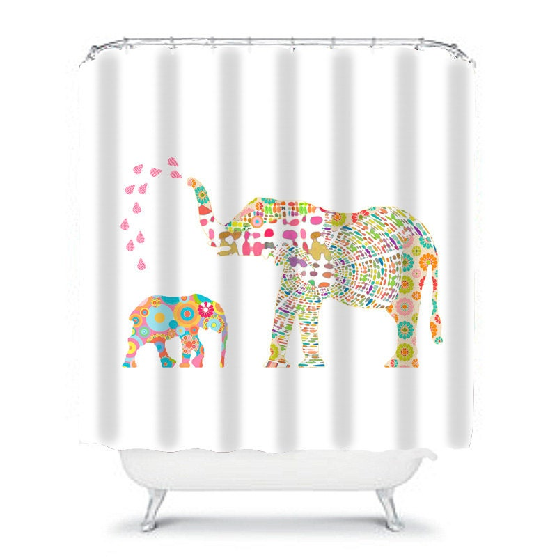 Kids shower curtain elephant shower curtain elephant for Funny shower curtains
