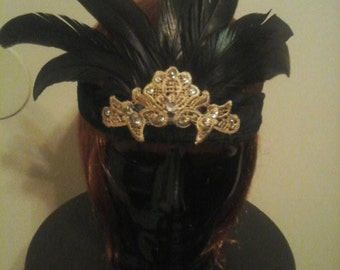 black and gold flapper headpiece