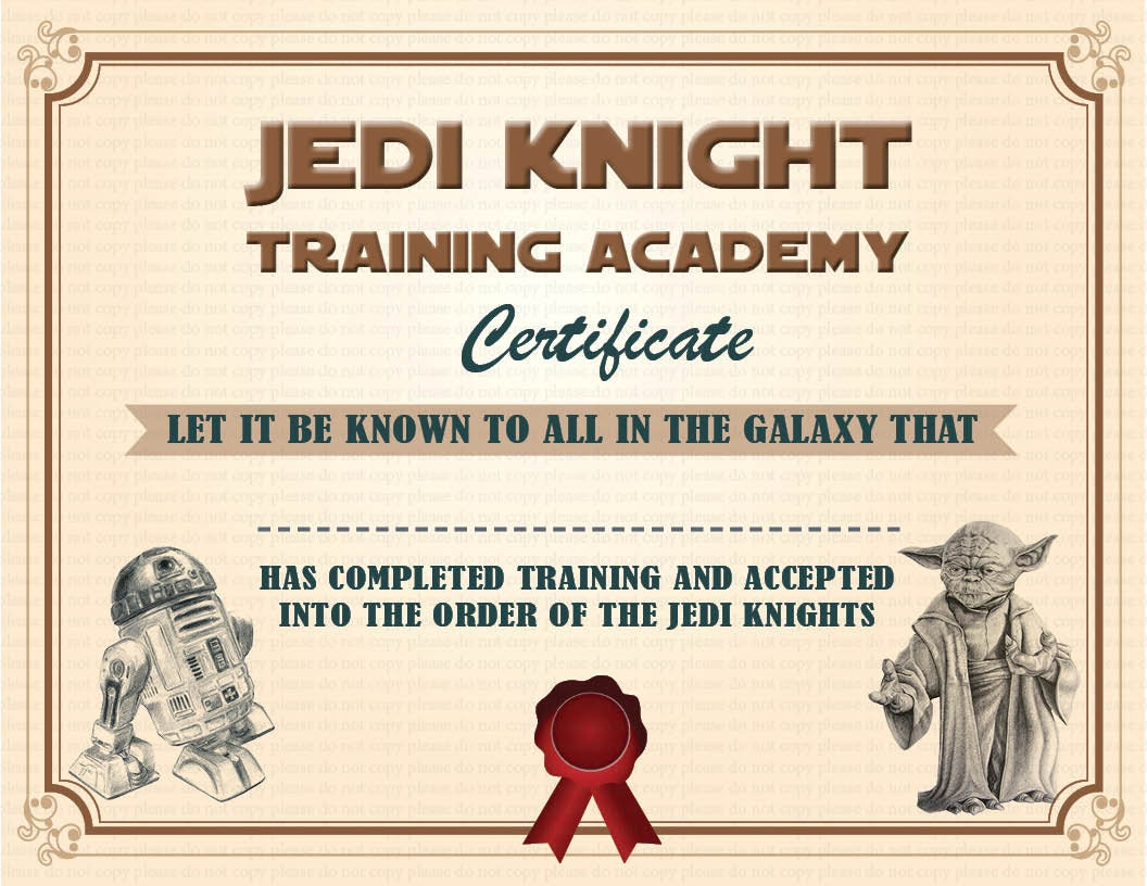 Instant dl jedi knight certificate star wars birthday by for Star wars jedi certificate template free