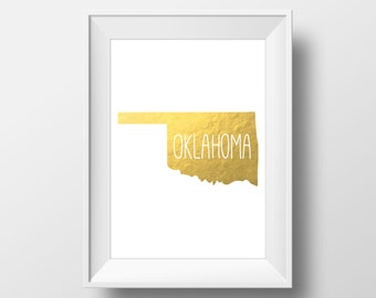 Oklahoma State Gold Foil Printable Art, Oklahoma Print, Oklahoma Art, Modern Art,