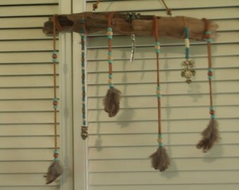 Owl Totem Driftwood Spirit Stick with Feathers and Beads