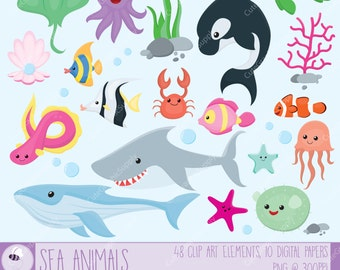 Sea animals clip art set. 48 illustrations, PNG/vector, 6x6 inch and 300ppi (print quality!). 10 digital papers, 12x12 inch, 300ppi. -LN058-
